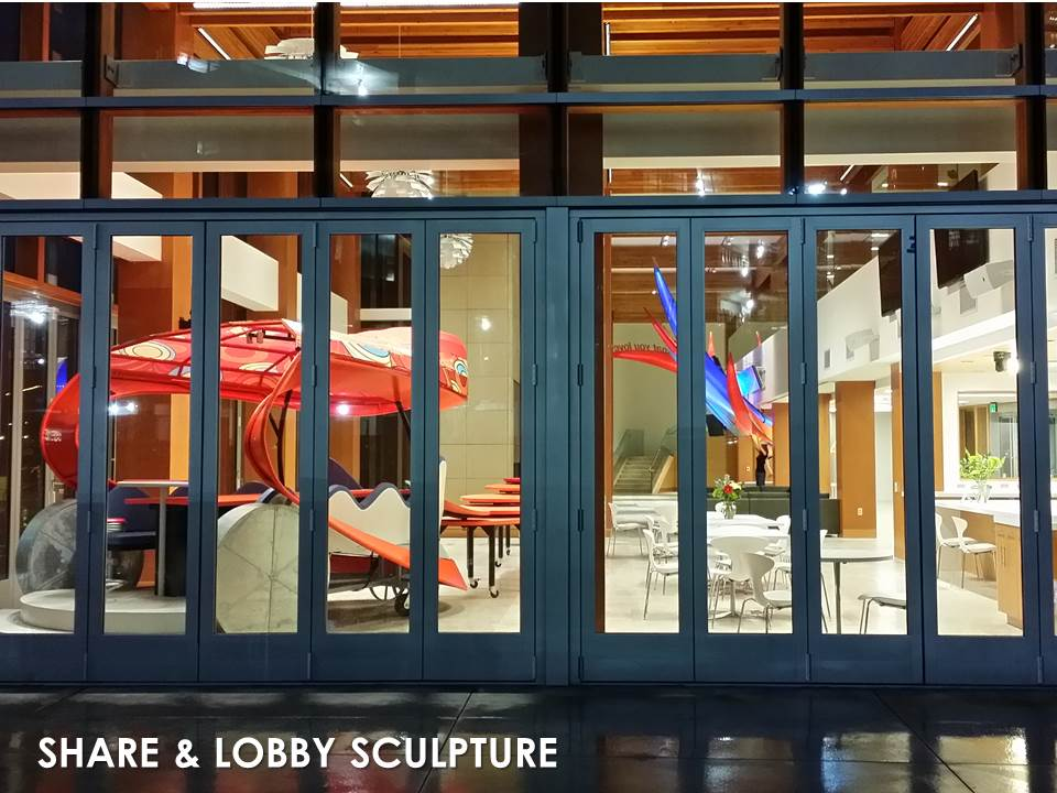 "JUMP Lobby with SHARE Studio and ""Bird of Paradise Sculptures"""