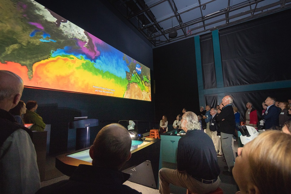 Projection Screen Showing NASA Satellite Data