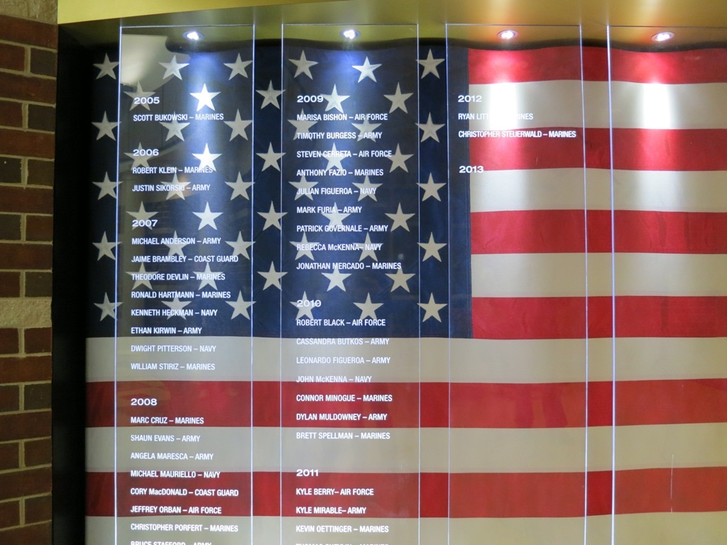 Plexiglass Panel with Names - Veterans Wall of Honor at Eastport South Manor Junior-Senior Highschool